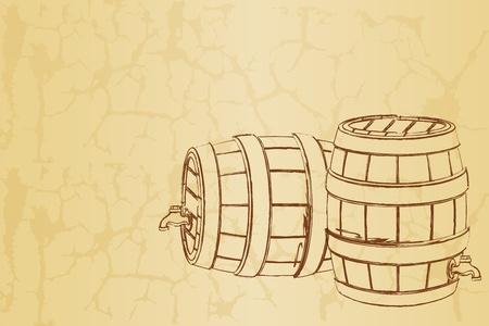 gal�n: Ilustraci�n de barril de cerveza en abstracto fondo vintage