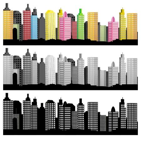 Ilustración de conjunto del horizonte de la ciudad sobre fondo blanco