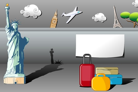 illustration of travel background with statue of liberty,eiffel tower and big ben with luggage and airplane Vector