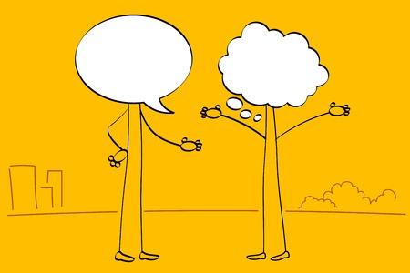 dialogo: Ilustraci�n de las personas con cabeza de burbuja de discurso hablando entre s�