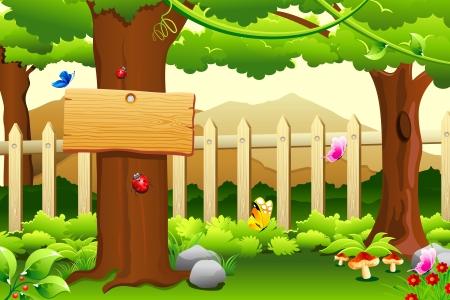 hoog gras: illustratie van de prachtige landelijke tuin scène met bomen en bergen