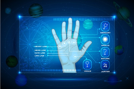 destiny: illustration of palm on touch screen indicating palmistry line