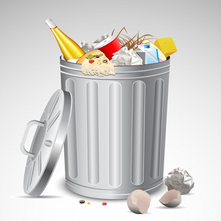 rubbish bin: illustration of trash bin full of garbage on abstract background Illustration