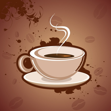 warm colors: illustration of hot coffee on grungy background