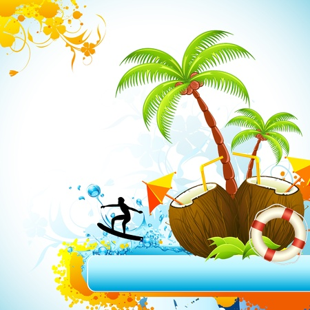 coconut drink: illustration of coconut with palm tree and surfer in sea