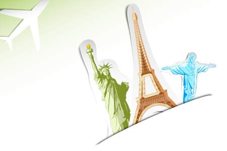 cristo: illustration of travel background with statue of liberty,eiffel tower and airplane Illustration