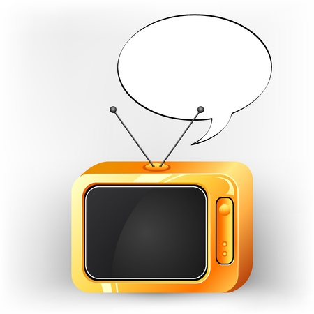illustration of television with speech bubble to write message Stock Vector - 9632822