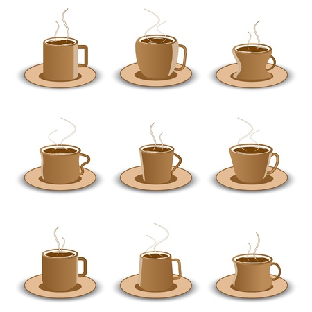illustration of set of different coffee cup on isolated background Stock Illustration - 9632910