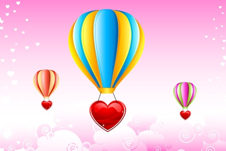 illustration of heart hanging from hot air balloon in sky illustration