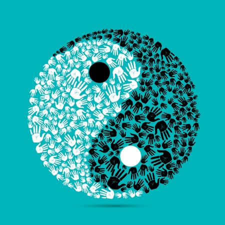 ying: illustration of yin yang made of human palm on plain background