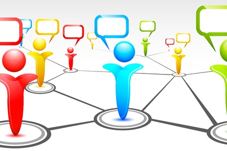 linking together: illustration of human icon with speech bubble forming human networking Illustration