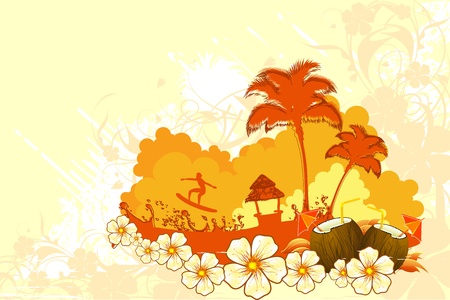 coconut drink: illustration of seascape with palm tree and surfer on grungy floral background