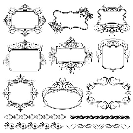illustration of set of vintage design elements for frame illustration