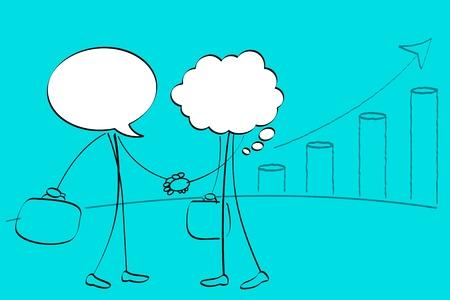 illustration of speech bubbke headed people handshaking Stock Vector - 9675596