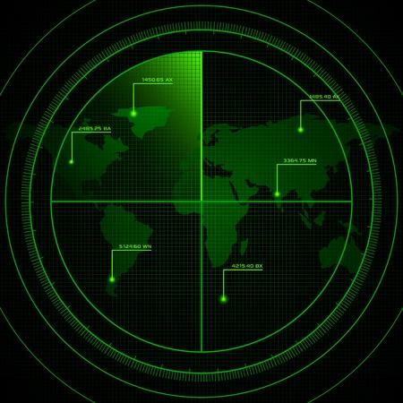 sonar: illustrazione di schermo radar che mostra mappa del mondo