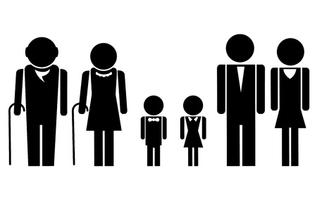 old man standing: illustration of complete family icon standing together