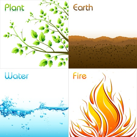 colourful fire: illustration of different elements of earth including plant,earth,water and fire