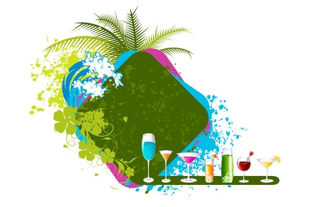 coconut drink: illustration of different cocktail drink on beach background with palm tree and grunge Illustration
