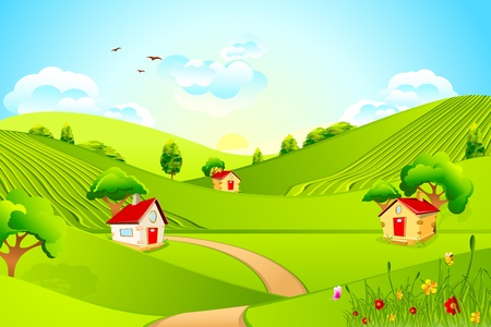 illustration of beautiful landscape with house in grassland illustration