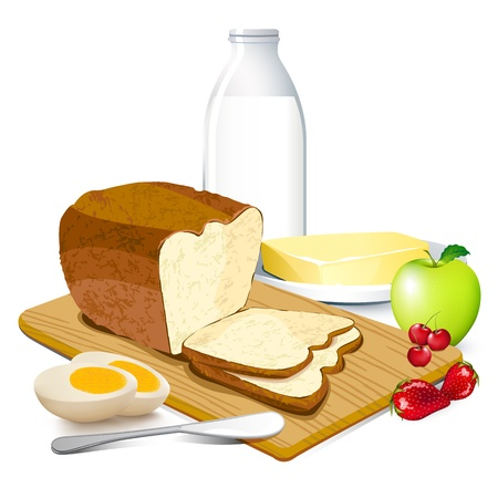 illustration of breakfast meal with bread,butter,egg,milk and fruits Stock Illustration - 9736504
