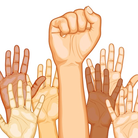 many hands: illustration of raised hand of different race with one fist Illustration