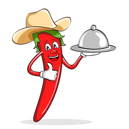 red pepper: illustration of red chili pepper wearing cow boy hat serving food Illustration