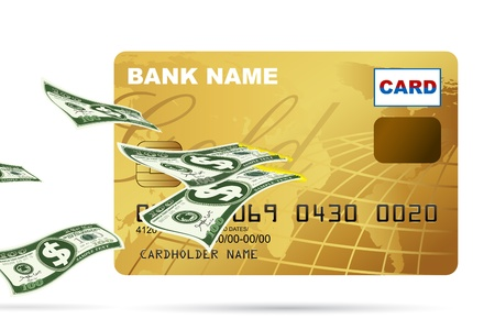 illustration of dollar coming out from credit card on white background Stock Vector - 9720276