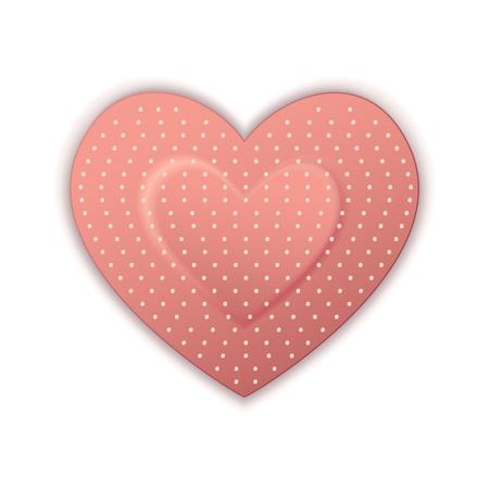 curitas: Ilustraci�n de venda de forma de coraz�n sobre fondo blanco