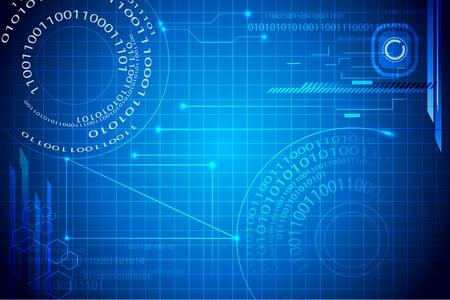 illustrazione di sfondo binario techno astratto blu