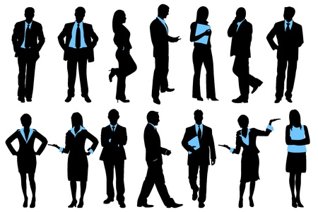 consultant: illustration of set of silhouette of business people on isolated background