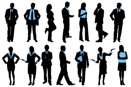 Ilustración de conjunto de silueta de gente de negocios sobre fondo aislado