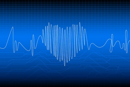 electrocardiogram: illustration of beating heart with wave frequency Illustration
