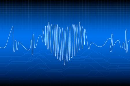illustrazione di battere il cuore con la frequenza dell'onda Vettoriali