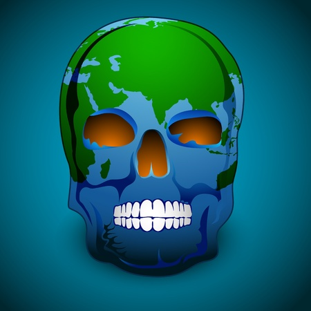 illustration of skull shape earth on abstract background Vector