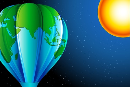 illustration of eart in hot air balloon shape with sun in sky Vector
