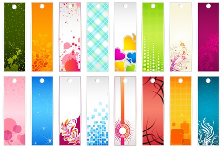 digital book: illustration of set of colorful floral bookmark