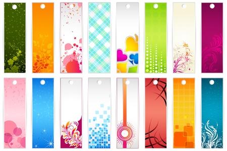 bookmark: illustration of set of colorful floral bookmark