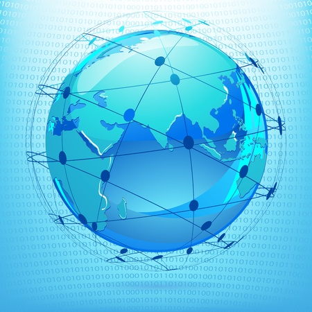 illustration of globe showing networking on binary background illustration