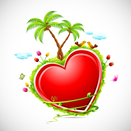 illustration of love bird sitting on heart with flower,grass and palm trees Vector