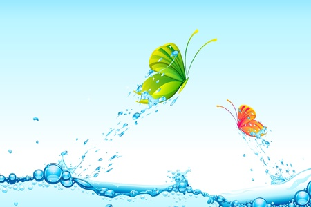 illustration of colorful butterflies flying from splash of water Vector