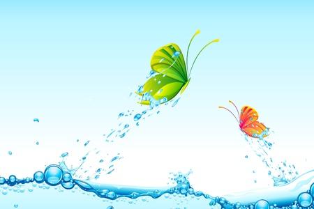 flowing water: Ilustraci�n de coloridas mariposas volando de splash de agua Vectores
