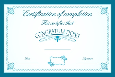 illustration of certificate template decorated with floral frame