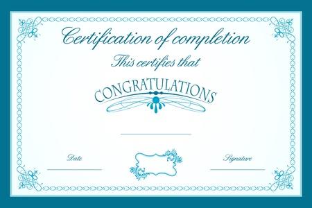 diploma: Ilustraci�n de plantilla de certificado decorado con marco floral