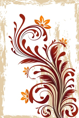 illustration of floral swirl on abstract background with grungy frame Stock Vector - 9736558