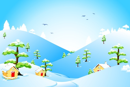 snow road: illustration of beautiful landscape with snow fall