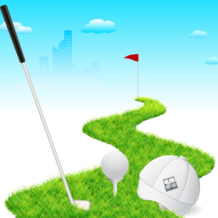 illustration of golf cap with golf stick and golf ball Vector