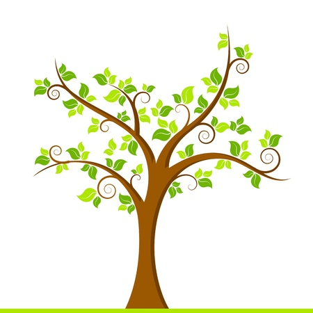 grow: illustration of growing tree on white background