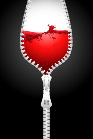 Ilustraci�n de apertura de cremallera en forma de Copa llena de salpicaduras de vino Vectores