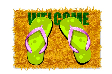 illustration of pair of feet on door mat with welcome on it Stock Illustration - 9764428