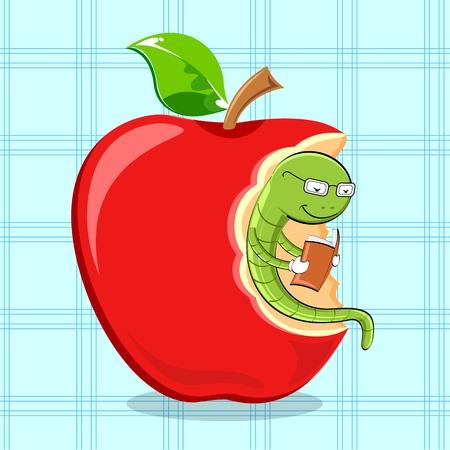 ver de terre cartoon: Illustration de bookworm lecture tout en si�geant � apple Illustration